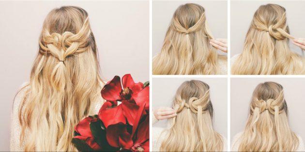 Причёски за 5 минут: Оригинальный хвост с плетением в виде сердца
