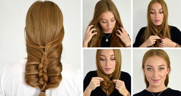 Причёски за 5 минут: Французская коса наизнанку