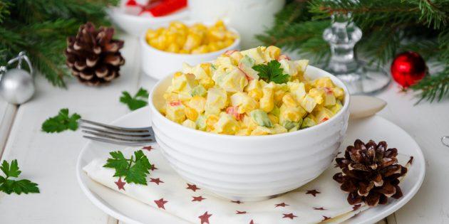 Resipi Salad: Salad dengan penyepit kepiting, jagung dan telur
