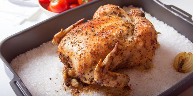 Sel de poulet entier au four: recette simple