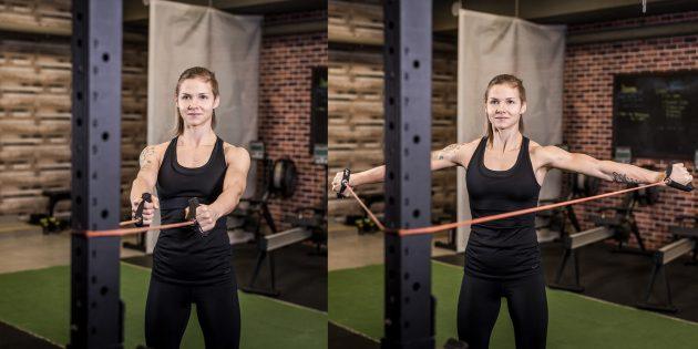 어깨에 운동 : 사면에있는 아령 배선