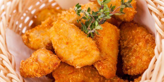 Pepite di pollo con miele, sheddar e parmigiano