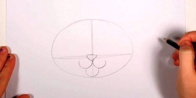 Na interseção das linhas, marque o nariz na forma de um triângulo