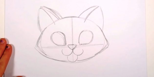 Over your nose, draw the droplets - the outlines of the eyes - and take a cat's ears
