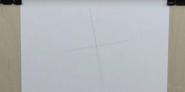 Passe uma linha vertical sob uma ligeira inclinação