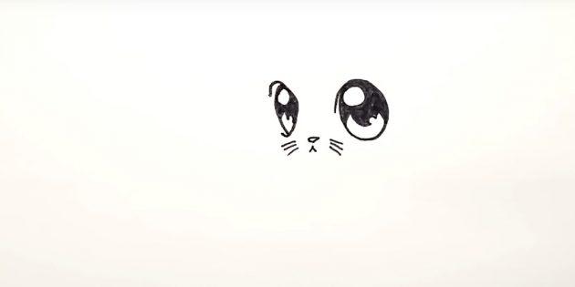 Az alábbiak között a szemek egy kis háromszög alakú orrát rajzoljanak