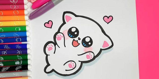 Hvordan man tegner en liggende kat i anime stil