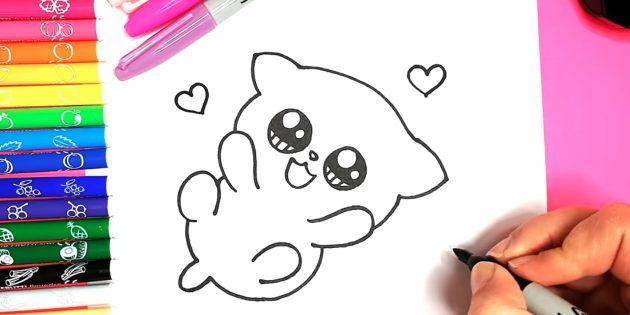 Hvordan man tegner en anime kat: omkring udsender hjerter