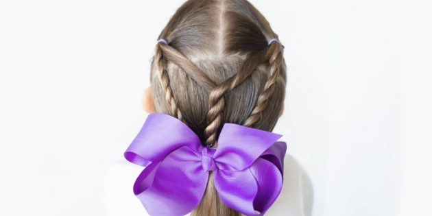 Hairstyles for girls: Low tail with twisted strands
