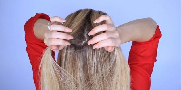 از بالا در قسمت مرکزی مو خارج شوید و به نصف تقسیم کنید