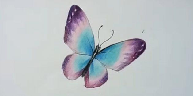 Добавьте более насыщенный фиолетовый цвет на крылья бабочки