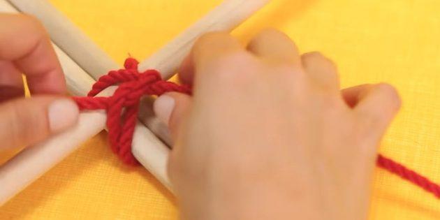 Hus til katten gør det selv: binde et reb ved en node