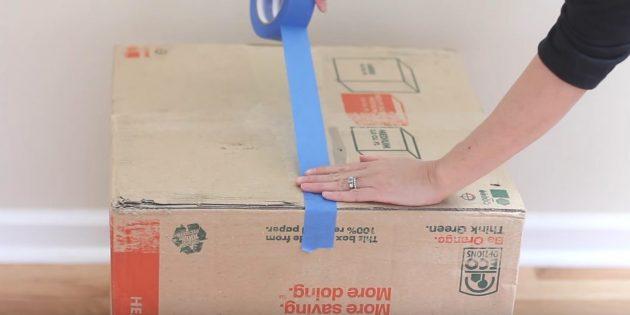 Casa para o gato faz você mesmo: limpe a costura na parte inferior da primeira caixa
