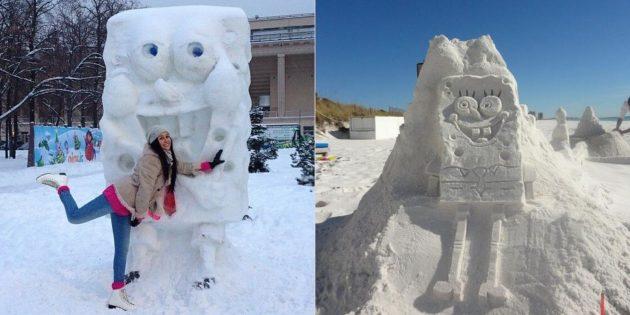 Снежные фигуры: Губка Боб