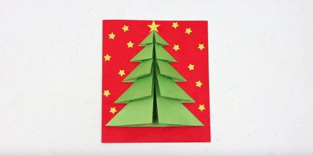 کارت سال نو با یک درخت توده در پوشش