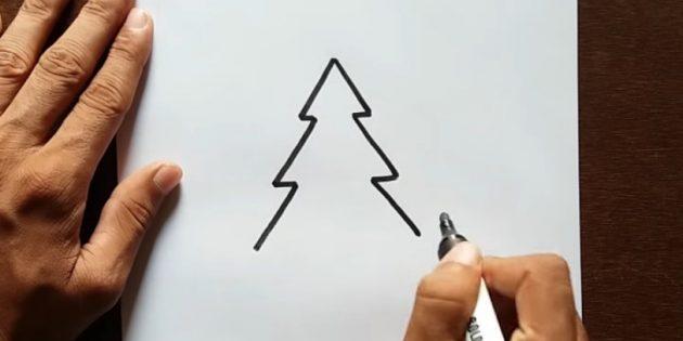 Рождестволық ағашты қалай салуға болады: Үшінші деңгей қосу