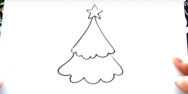 크리스마스 트리를 그리는 방법 : 두 번째 계층을 추가하십시오.