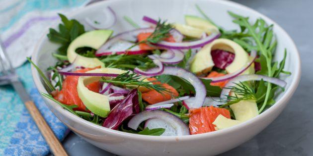 Resipi Salad Mudah: Salad dengan Ikan Merah, Avocado dan Greens