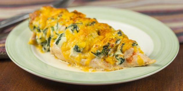 Kanafileellä juusto ja pinaatti uunissa