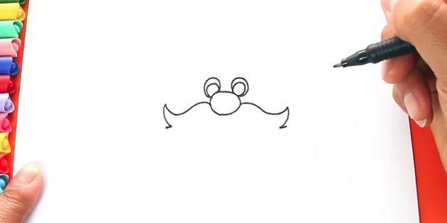 サンタクロースを描く方法:口ひげを描く始める