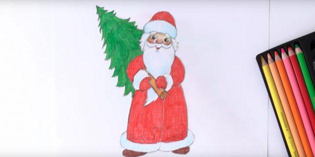 サンタクロース放牧を描く方法:着色祖父