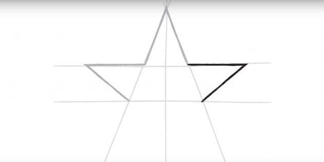 스타의 세 번째 꼭대기를 그립니다