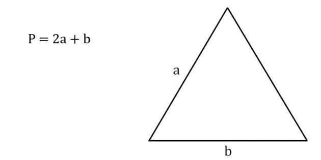 Hur man beräknar omkretsen av en likbent triangel genom att känna till sidan och basen