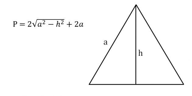 Hur man hittar omkretsen av en likbent triangel genom att känna till sidan och höjden