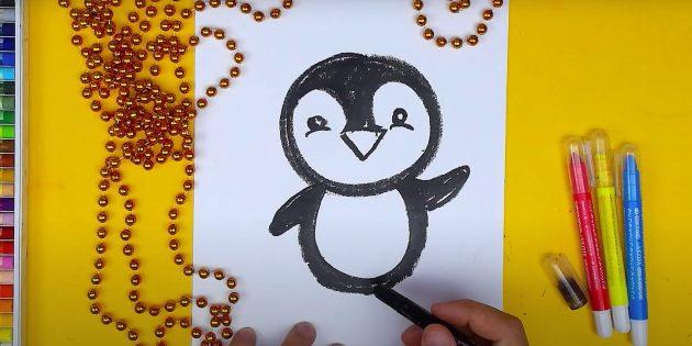 पेंगुइन कैसे आकर्षित करें: चित्र पंख