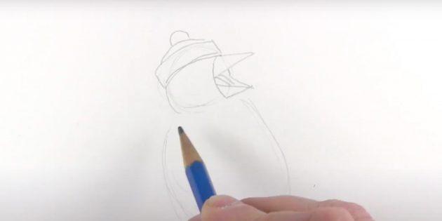एक पेंगुइन कैसे आकर्षित करें: चोंच और भाषा खींचें