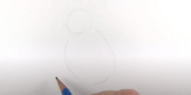 एक पेंगुइन कैसे आकर्षित करें: एक सर्कल और अंडाकार ड्रा करें