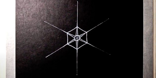 How to draw a snowflake: Draw a small hexagon