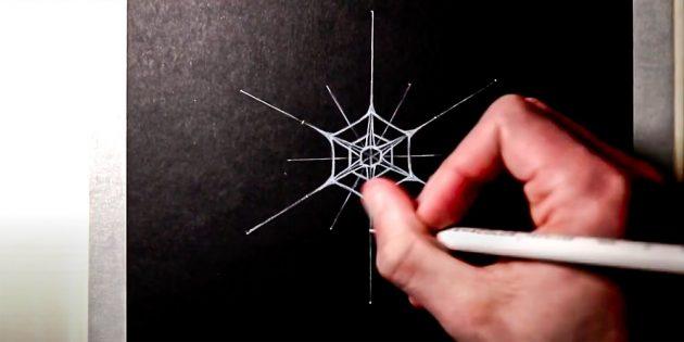 Como desenhar um floco de neve: adicione mais hexágono
