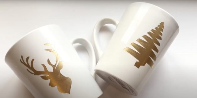 Жаңа жылға арналған сыйлықтар Өзіңіз жасаңыз: безендірілген кружка