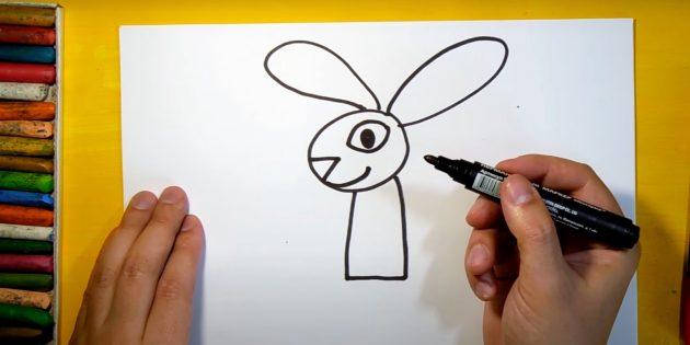 Hvordan man tegner en hare: Tegn øjne, næse og smil