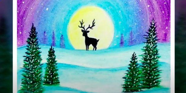 सफेद रंग और थोड़ा नीला मिलाएं और दूसरी हिमपात पर एक छोटा पेड़ बनाएं। पैलेट पर पेंट में नीला जोड़ें और तीसरे स्नोड्रिफ्ट पर फिर से थोड़ा कम पेड़ दोहराएं। देखें कि शाखाएं पहले खींचे गए पेड़ों के रूप में प्रवेश नहीं करती हैं।