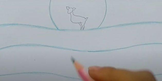 Как нарисовать зимний пейзаж: нарисуйте сугробы и голову оленя