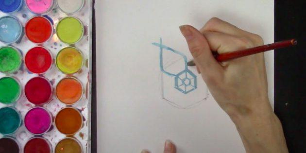 Cada segmento se estenderá ao canto de um grande hexágono