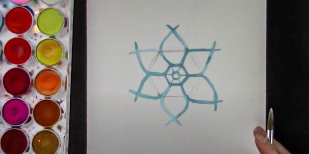Қар ұшқынын қалай салуға болады: бүкіл фигураны сызыңыз