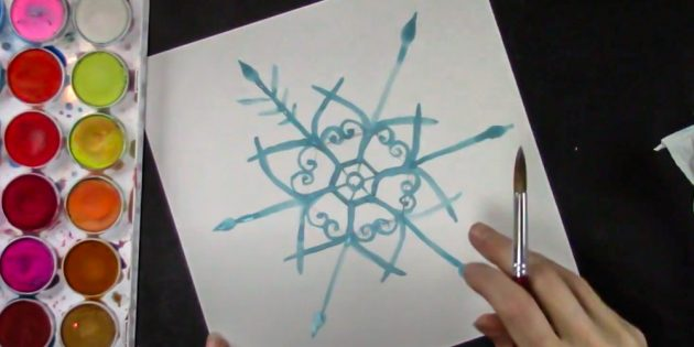 How to draw a snowflake: decorate rays
