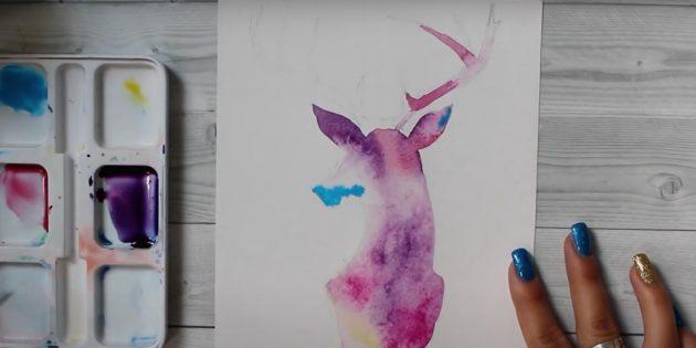 Piirrä korvan ja nenän sininen maali