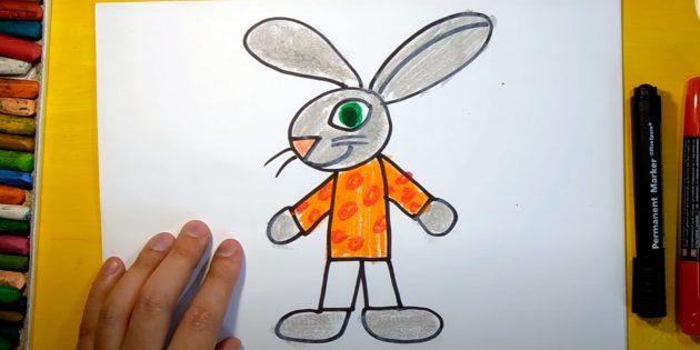 Sådan tegner du en hare: Farve kroppen og hænderne