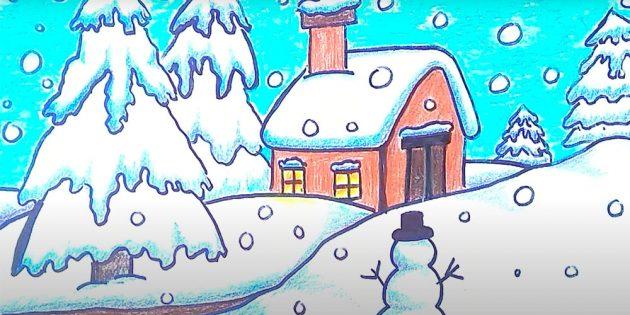 بنابراین نقاشی زمستانی با مداد رنگی تکمیل می شود. شما می توانید در یک قاب زیر شیشه قرار دهید و هر روز تصویر را تحسین کنید.