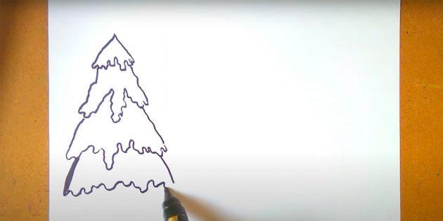 Как нарисовать зимний пейзаж: нарисуйте ель