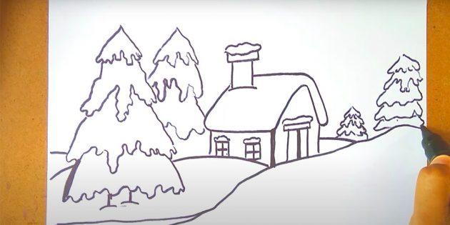 چگونه زمستان را در یک مداد و رنگ های مرحله ای قرار دهیم