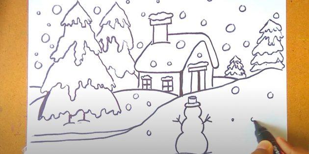 शीतकालीन परिदृश्य कैसे आकर्षित करें: स्प्रूस ड्रा करें