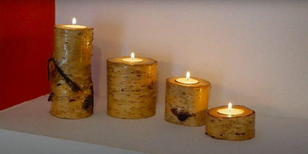 เชิงเทียนทำจากไม้ด้วยมือของคุณเอง