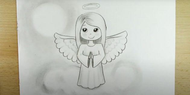 چگونه به رسم فرشته: سایه ها را بر روی مو و لباس اضافه کنید