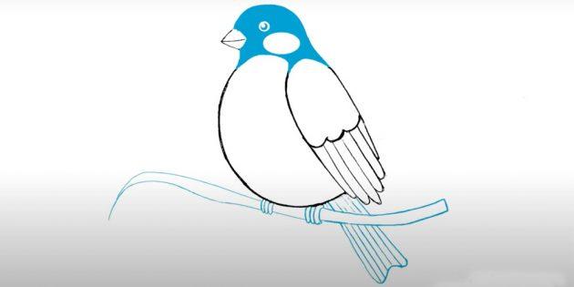 Hvordan tegne BullFinch: Legg til en vinge