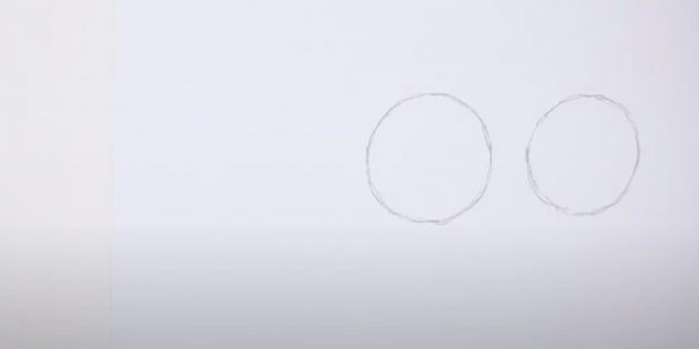 Hoe een paard te tekenen: zie twee cirkels